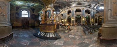 Inside the Jesuit Church in Lviv, Ukraine.  Click to view this panorama in new fullscreen window
