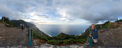 Beira do Quinto: a nice viewpoint by the ER 101 road on the northern shores of the Madeira island.  Click to view this panorama in new fullscreen window