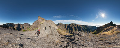 On the ridge of Pico das Torres on the hiking trail from Pico de Arieiro to Pico Ruivo on the island of Madeira.  Click to view this panorama in new fullscreen window