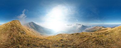 On the ridge of Pekelník (1609 m) in the Malá Fatra mountain range.  Click to view this panorama in new fullscreen window