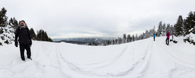 On a winter trail below the summit of Mała Rycerzowa in the Beskidy Mountains.  Click to view this panorama in new fullscreen window