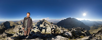 On the summit of Východná Vysoká (2429 m) in Slovak Tatra Mountains.  Click to view this panorama in new fullscreen window