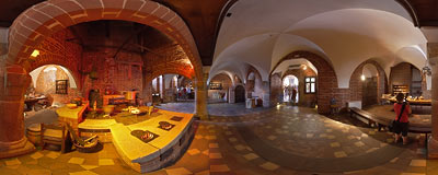 Malbork castle - old kitchen of the convent in the High Castle.  Click to view this panorama in new fullscreen window