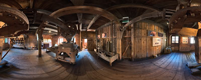 Malbork castle - reconstructed old mill.  Click to view this panorama in new fullscreen window