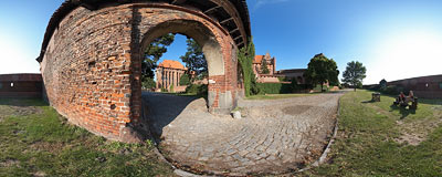 View of the Malbork castle from the outer walls.  Click to view this panorama in new fullscreen window