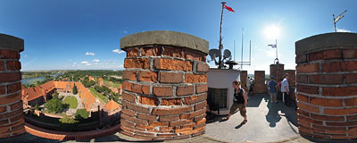 Malbork castle - on the tower.  Click to view this panorama in new fullscreen window