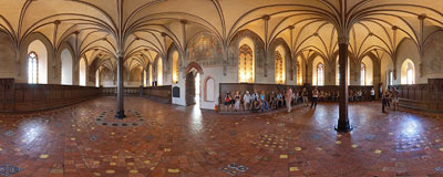 Malbork castle - Chapter House chamber of the High Castle.  Click to view this panorama in new fullscreen window