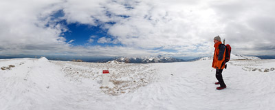 On the summit of Małołączniak (2096 m) on the Polish-Slovak border in the Tatra Mountains.  Click to view this panorama in new fullscreen window