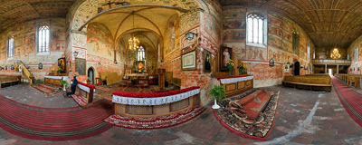 15th century church of St. James the Apostle in Małujowice (formerly Mollwitz).  Click to view this panorama in new fullscreen window