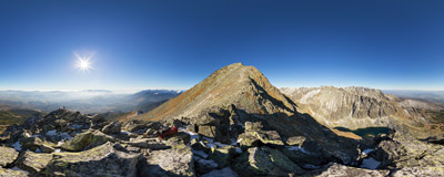 On the summit of Malý Kriváň (2334 m) in the Slovak Tatra Mountains.  Click to view this panorama in new fullscreen window