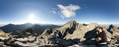On the summit of Široká veža (2461 m) in Slovak Tatra Mountains.  Click to view this panorama in new fullscreen window