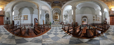 The church of Saint Lawrence (San Lorenzo) in Manarola, Cinque Terre, Italy.  Click to view this panorama in new fullscreen window