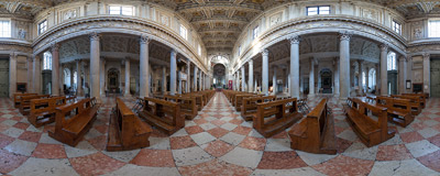 Inside the Cathedral of St. Peter the Apostle in Mantua, Lombardy (Italy).  Click to view this panorama in new fullscreen window