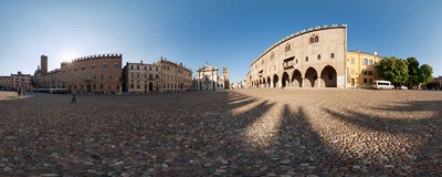 Piazza Sordello, the main square of Mantua, Lombardy (Italy).  Click to view this panorama in new fullscreen window