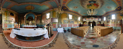 Inside the 19th-century Greek Orthodox (now Roman Catholic) church of Saints Cosmas and Damian in Męcina Wielka, Southern Poland.  Click to view this panorama in new fullscreen window