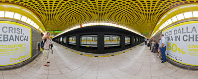 The M3 line platform of the Centrale F.S. station of the Metro in Milan, Italy.  Click to view this panorama in new fullscreen window