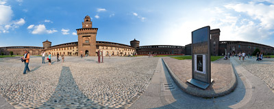 The main castle square of the Castello Sforzesco in Milan, Italy.  Click to view this panorama in new fullscreen window