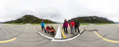 In the middle of the runway of the Swiss Air Force base in Meiringen.  Click to view this panorama in new fullscreen window