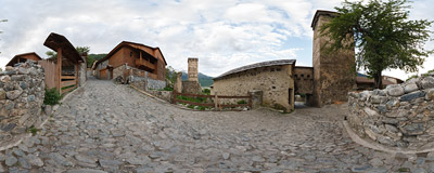 A typical street of Mestia, the capital of Svaneti, a region of Georgia.  Click to view this panorama in new fullscreen window