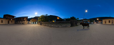 As the night falls on Mestia, cows emerge on the streets :).  Click to view this panorama in new fullscreen window