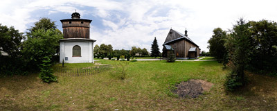 The 18th century wooden church of Our Lady of Częstochowa in Mętków.  Click to view this panorama in new fullscreen window