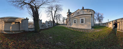 Late-baroque church of Blessed Virgin Mary in Minoga (1733-1736).  Click to view this panorama in new fullscreen window