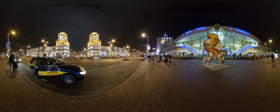 In front of the main railway station in Minsk, the capital city of Belarus.  Click to view this panorama in new fullscreen window