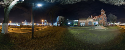 By the side of the Red Church on the Independence Square, the main square of Minsk, the capital of Belarus.  Click to view this panorama in new fullscreen window