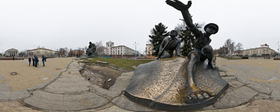 The 1972 monument of the Belarusian poet Yakub Kolas on Yakub Kolas Square in Minsk.  Click to view this panorama in new fullscreen window