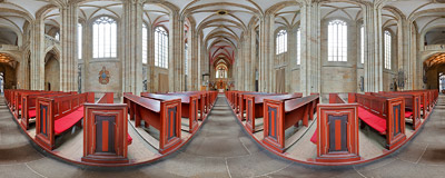 Inside the Gothic cathedral of St. John and St. Donatus (Dom zu Meiüen) in Meissen, Germany.  Click to view this panorama in new fullscreen window