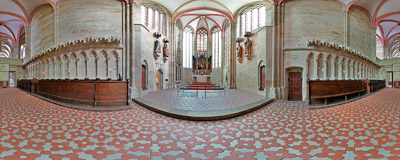 Inside the chancel of the Gothic cathedral of St. John and St. Donatus (Dom zu Meiüen) in Meissen, Germany.  Click to view this panorama in new fullscreen window