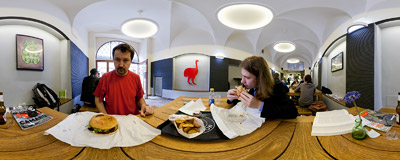Inside MoaBurger, the New Zealand burger joint on Mikołajska Street in Kraków.  Click to view this panorama in new fullscreen window