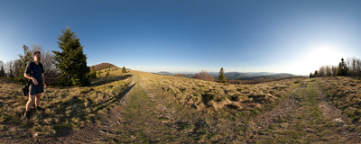 On the trail down from Mogielica (1170 m) in the Beskid Wyspowy mountain range.  Click to view this panorama in new fullscreen window
