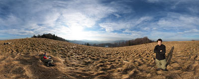 Hala Wyśnikówka near the summit of Mogielica (1170 m) in the Beskid Wyspowy mountain range.  Click to view this panorama in new fullscreen window