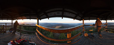 Watch the sunrise from the top a wooden viewing tower on the summit of Mogielica (1170 m) in the Beskid Wyspowy mountain range.  Click to view this panorama in new fullscreen window