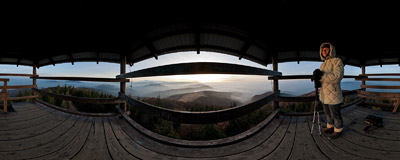 An autumn sunset watched from a wooden viewing tower on the summit of Mogielica (1170 m) in the Beskid Wyspowy mountain range.  Click to view this panorama in new fullscreen window