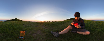 Having a very early breakfast on Hala Wyśnikówka below the summit of Mogielica (1170 m) in the Beskid Wyspowy mountain range.  Click to view this panorama in new fullscreen window
