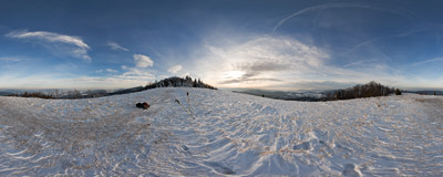 Winter in the Beskid Wyspowy mountain range, below the summit of Mogielica (1170 m).  Click to view this panorama in new fullscreen window