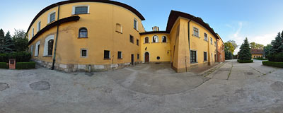 Buildings of the Cistercian abbey in Mogiła.  Click to view this panorama in new fullscreen window