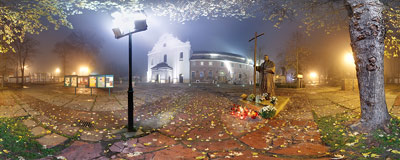 November fog covering the buildings of the Cistercian abbey in Mogiła.  Click to view this panorama in new fullscreen window