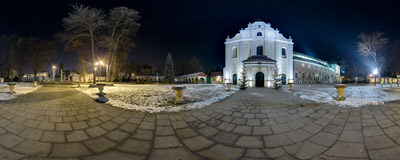 A December evening in front of the St. Wenceslas' church in Mogiła.  Click to view this panorama in new fullscreen window