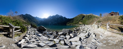 Morskie Oko ('Eye of the Sea'), the most beautiful lake in the Tatra Mountains.  Click to view this panorama in new fullscreen window