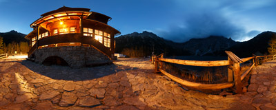 In front of the Morskie Oko mountain hut in the Tatra Mountains.  Click to view this panorama in new fullscreen window