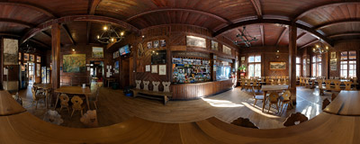 Inside the Morskie Oko mountain hut, Polish Tatra Mountains.  Click to view this panorama in new fullscreen window