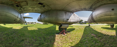 Under the wing of a 1950s Ilyushin Il-28 bomber plane in the Polish Aviation Museum in Kraków.  Click to view this panorama in new fullscreen window
