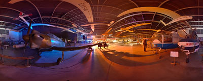 International Night of Museums in the Polish Aviation Museum in Kraków.  Click to view this panorama in new fullscreen window