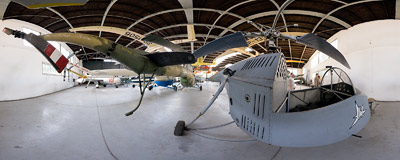 Prototype of a GIL BŻ-1 helicopter in Polish Aviation Museum in Kraków.  Click to view this panorama in new fullscreen window