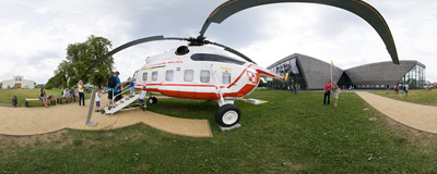 Polish Aviation Museum in Kraków: the Mi-8 helicopter used by Pope John Paul II during his pilgrimages to Poland.  Click to view this panorama in new fullscreen window
