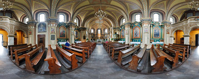 Inside the church of the Nativity of the Blessed Virgin Mary in Mysłowice (Silesia region of Poland).  Click to view this panorama in new fullscreen window
