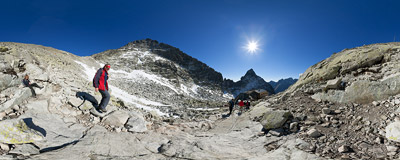 Near the Chata pod Rysmi mountain hut (2250 m), on the trail from Popradské pleso to the summit of Rysy in Slovak Tatra Mountains.  Click to view this panorama in new fullscreen window